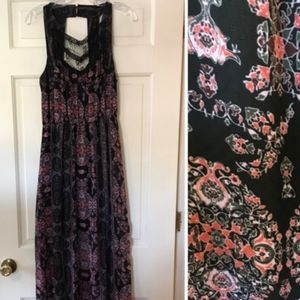 FREE PEOPLE FLORAL PRINTED LACE BLACK INSERT Sz. 2